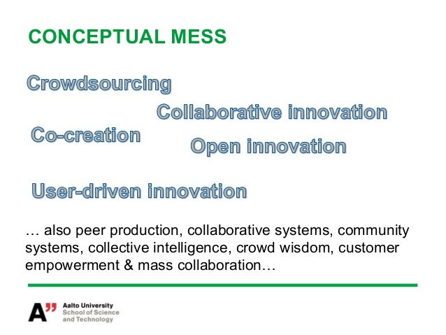 CONCEPTUAL MESS… also peer production, collaborative systems, communitysystems, collective intelligence, crowd wisdom, cus...