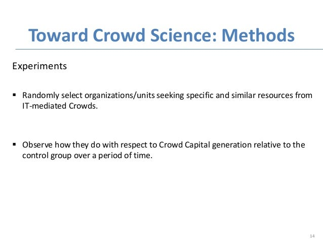 Experiments  Randomly select organizations/units seeking specific and similar resources from IT-mediated Crowds.  Observ...