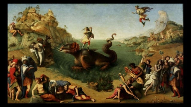 Saint George taming then slaying a dragon ... An elegant, if bored-looking, princess already has a leash around its neck. ...