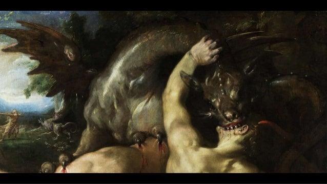 le dragon, de dos, prêt à dévorer l'enfant de la femme enceinte décrite dans l'Apocalypse le dragon semble enjamber tout l...