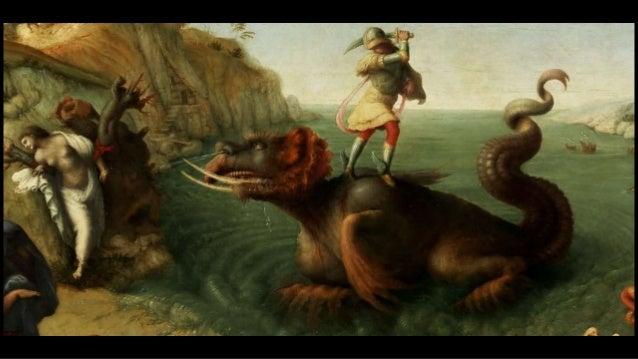 """le combat de l'archange saint Michel contre le dragon, figure allégorique du mal, évoqué dans """"l'Apocalypse"""" de saint Jean..."""