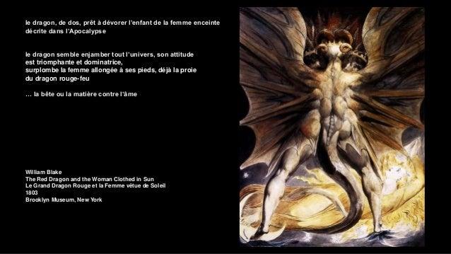 la sainte tient un crucifix de la main gauche , les pieds dans la queue lovée du dragon, le regard orienté vers la gueule ...