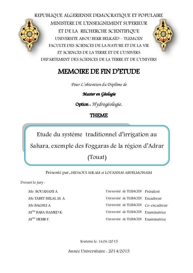 Exemple De Mémoire Master 1 Sciences De Léducation ...