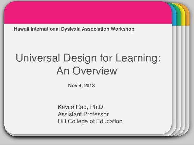 WINTER  Hawaii International Dyslexia Association Workshop  Template  Universal Design for Learning: An Overview Nov 4, 20...