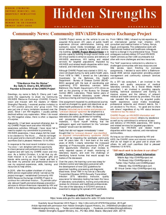 "Community News: Community HIV/AIDS Resource Exchange Project ""Obedience Has No Status"" By: Sally S. Cherry, BS, MT(ASCP) F..."