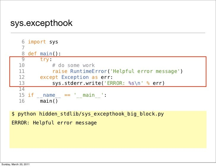 sys excepthook 6 import sys 7