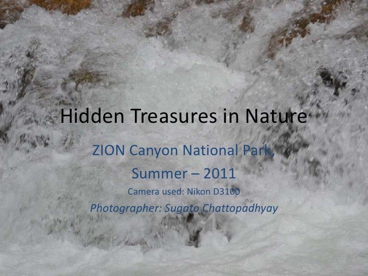 Hidden Treasures in Nature   ZION Canyon National Park,        Summer – 2011         Camera used: Nikon D3100   Photograph...