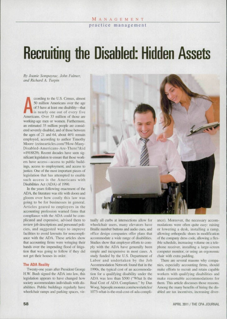 M A N A G E M E N T                                                  p r a c t i c e managementRecruiting the Disabled: Hi...