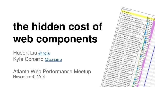 the hidden cost of  web components  Hubert Liu @hcliu  Kyle Conarro @conarro  Atlanta Web Performance Meetup  November 4, ...