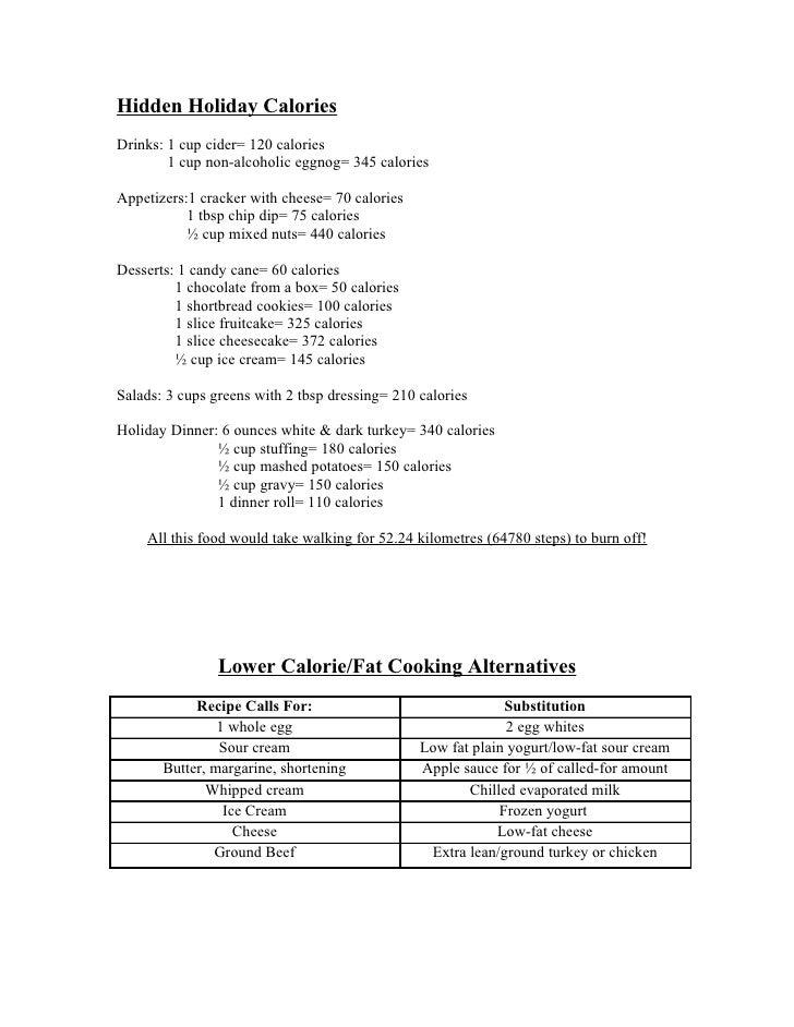 Hidden Holiday Calories Drinks: 1 cup cider= 120 calories         1 cup non-alcoholic eggnog= 345 calories  Appetizers:1 c...