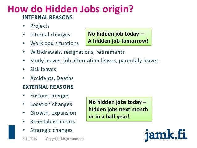 How do Hidden Jobs origin? INTERNAL REASONS • Projects • Internal changes • Workload situations • Withdrawals, resignation...