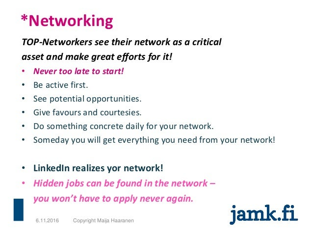 *Networking TOP-Networkers see their network as a critical asset and make great efforts for it! • Never too late to start!...
