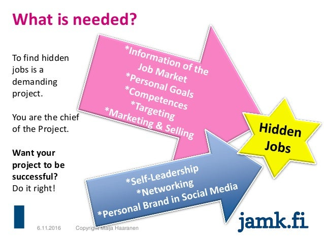 What is needed? 6.11.2016 Copyright Maija Haaranen To find hidden jobs is a demanding project. You are the chief of the Pr...