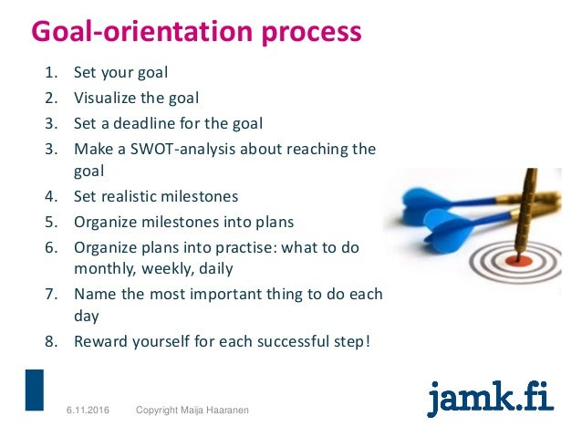 Goal-orientation process 1. Set your goal 2. Visualize the goal 3. Set a deadline for the goal 3. Make a SWOT-analysis abo...