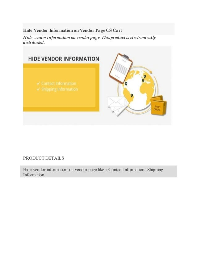 hide vendor information on vendor page cs cart