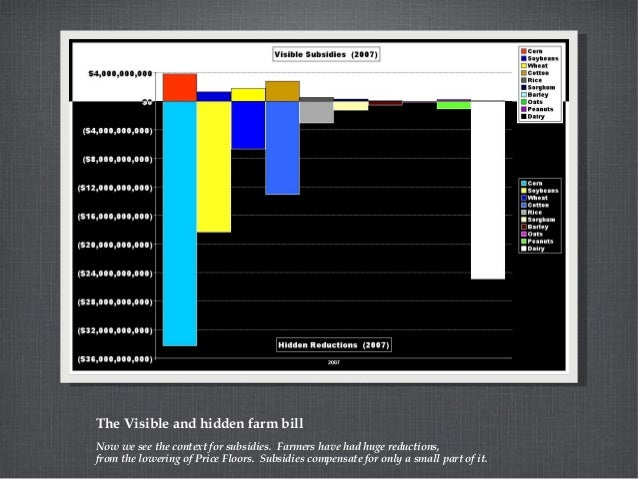 The Visible and hidden farm bill Now we see the context for subsidies. Farmers have had huge reductions, from the lowering...