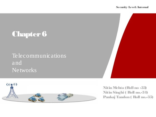 Security Level: Internal Chapter6 Telecommunications and Networks Nitin Mehta (Roll no -33) Nitin Singhi ( Roll no.-34) Pa...