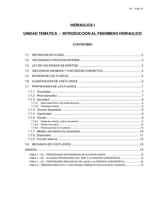 H1 - Pág. A1                                                                   HIDRAULICA I       UNIDAD TEMATICA - INTROD...