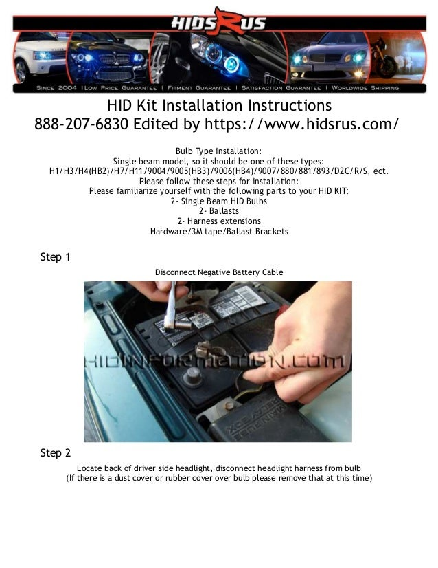 HID Kit installation instructions without relay H Hid Kit Wiring Diagram on
