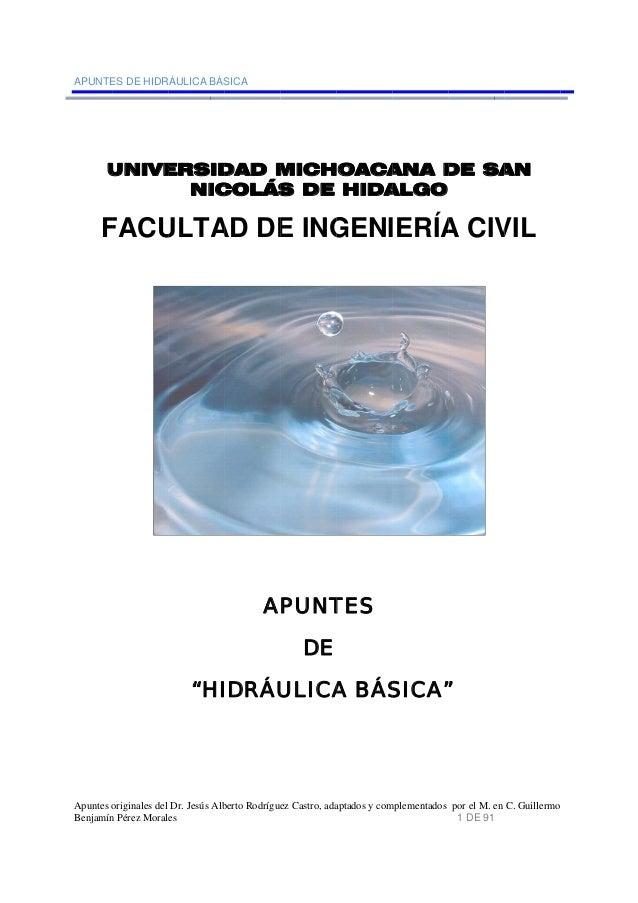 APUNTE Apuntes o Benjamín U F ES DE HIDR originales del n Pérez Moral UNIVE FACU RÁULICA BÁS Dr. Jesús Alb es ERSID NIC UL...