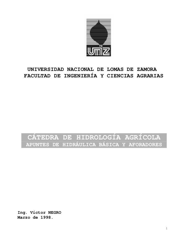 UNIVERSIDAD NACIONAL DE LOMAS DE ZAMORA  FACULTAD DE INGENIERÍA Y CIENCIAS AGRARIAS   CÁTEDRA DE HIDROLOGÍA AGRÍCOLA   APU...