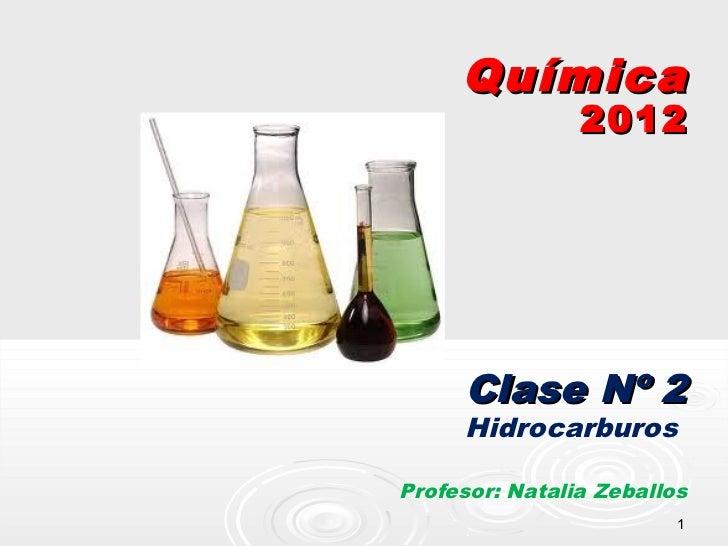 Química                2012     Clase Nº 2     HidrocarburosProfesor: Natalia Zeballos                         1