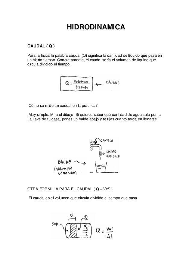 HIDRODINAMICACAUDAL ( Q )Para la física la palabra caudal (Q) significa la cantidad de líquido que pasa enun cierto tiempo...
