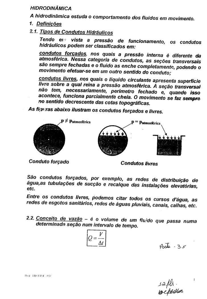 Hidráulica - Hidrodinâmica definições