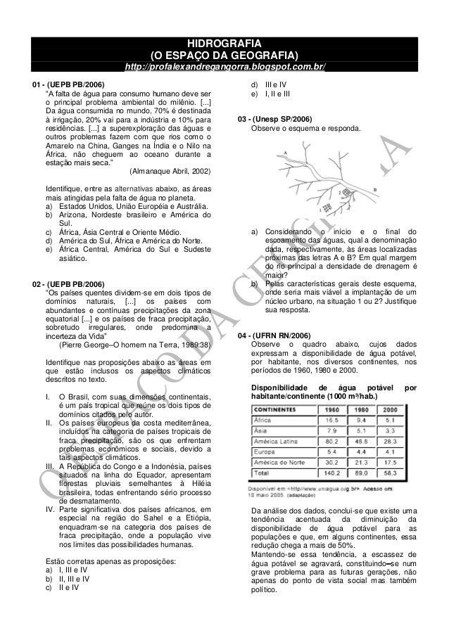 """HIDROGRAFIA (O ESPAÇO DA GEOGRAFIA) http://profalexandregangorra.blogspot.com.br/ 01 - (UEPB PB/2006) """"A falta de água par..."""