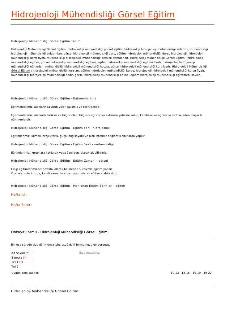 Hidrojeoloji Mühendisliği Görsel EğitimHidrojeoloji Mühendisliği Görsel Eğitim TanımıHidrojeoloji Mühendisliği Görsel Eğit...