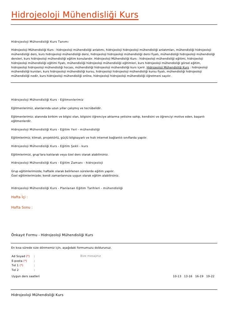 Hidrojeoloji Mühendisliği KursHidrojeoloji Mühendisliği Kurs TanımıHidrojeoloji Mühendisliği Kurs : hidrojeoloji mühendisl...