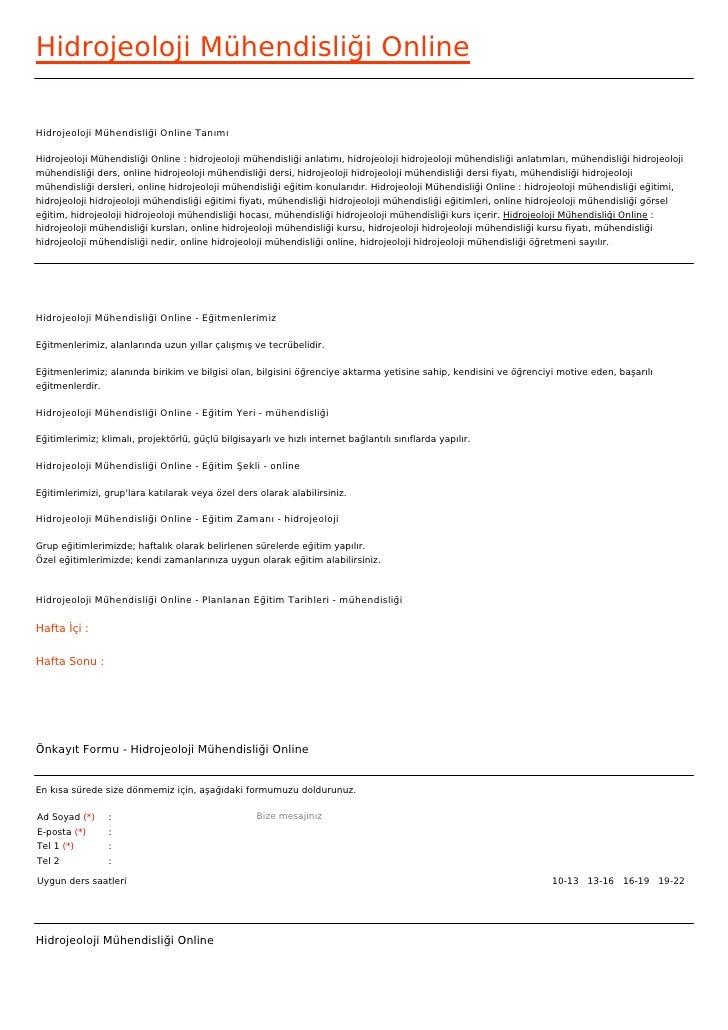 Hidrojeoloji Mühendisliği OnlineHidrojeoloji Mühendisliği Online TanımıHidrojeoloji Mühendisliği Online : hidrojeoloji müh...