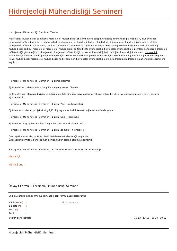 Hidrojeoloji Mühendisliği SemineriHidrojeoloji Mühendisliği Semineri TanımıHidrojeoloji Mühendisliği Semineri : hidrojeolo...