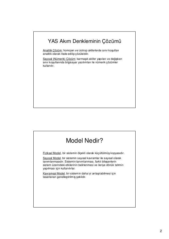 Yeraltısuyu Akımı CBS ve Modelleme Slide 2