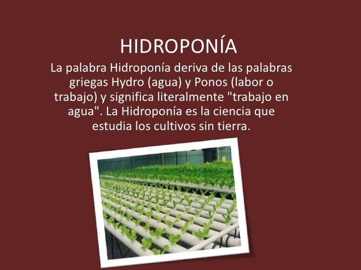 HIDROPONÍALa palabra Hidroponía deriva de las palabras    griegas Hydro (agua) y Ponos (labor o trabajo) y significa liter...