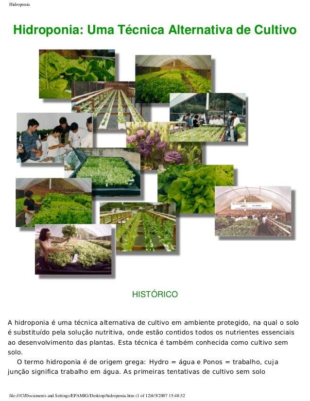 Hidroponia Hidroponia: Uma Técnica Alternativa de Cultivo HISTÓRICO A hidroponia é uma técnica alternativa de cultivo em a...