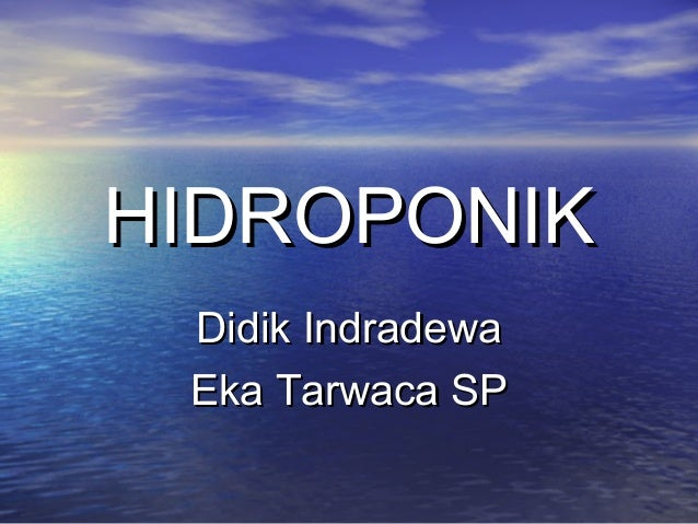 HIDROPONIKHIDROPONIK Didik IndradewaDidik Indradewa Eka Tarwaca SPEka Tarwaca SP