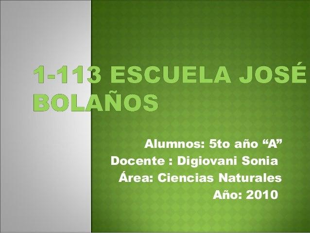 """Alumnos: 5to año """"A"""" Docente : Digiovani Sonia Área: Ciencias Naturales Año: 2010"""