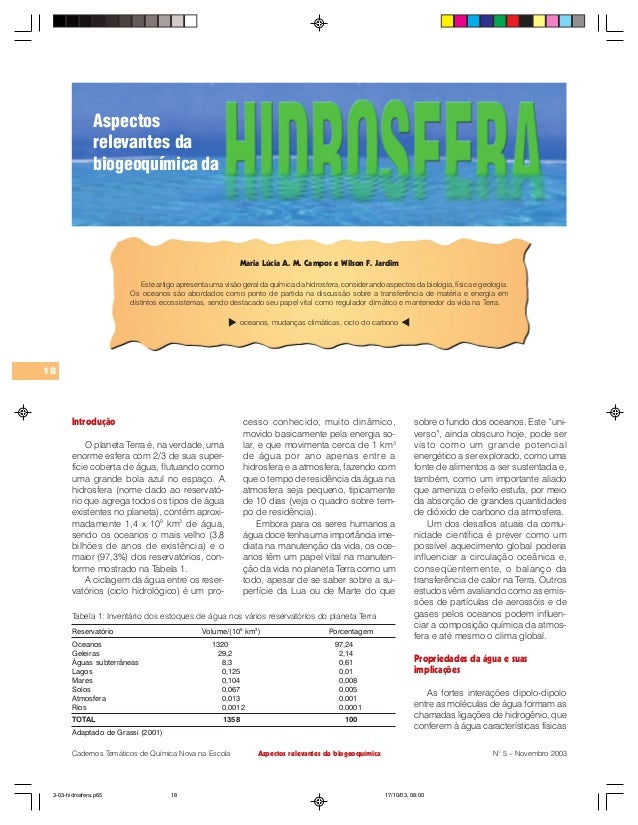 Aspectos relevantes da biogeoquímica 18 Cadernos Temáticos de Química Nova na Escola N° 5 – Novembro 2003 Maria Lúcia A. M...