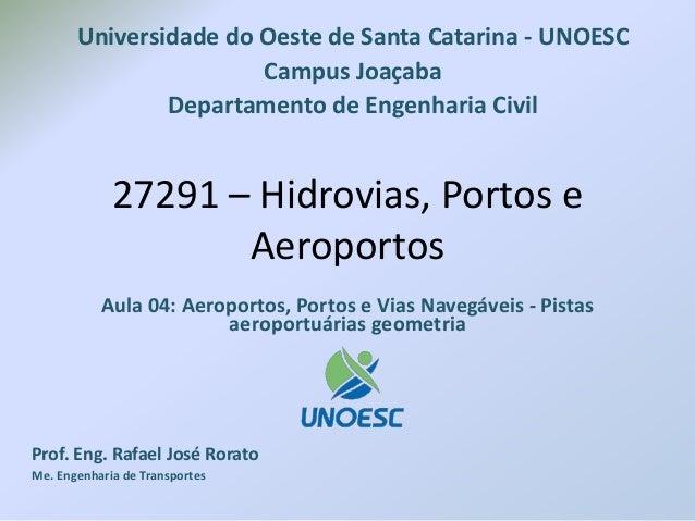 27291 – Hidrovias, Portos e Aeroportos Aula 04: Aeroportos, Portos e Vias Navegáveis - Pistas aeroportuárias geometria Pro...