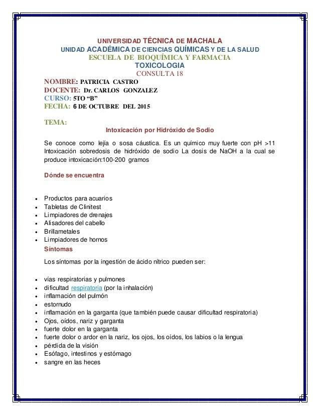 UNIVERSIDAD TÉCNICA DE MACHALA UNIDAD ACADÉMICA DE CIENCIAS QUÍMICAS Y DE LA SALUD ESCUELA DE BIOQUÍMICA Y FARMACIA TOXICO...