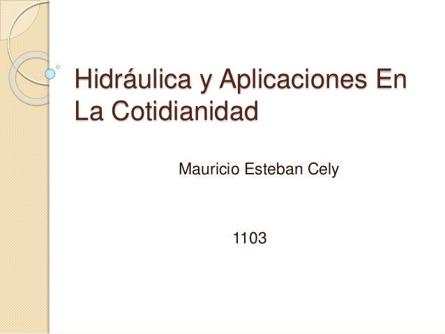 Hidráulica y Aplicaciones En La Cotidianidad Mauricio Esteban Cely 1103