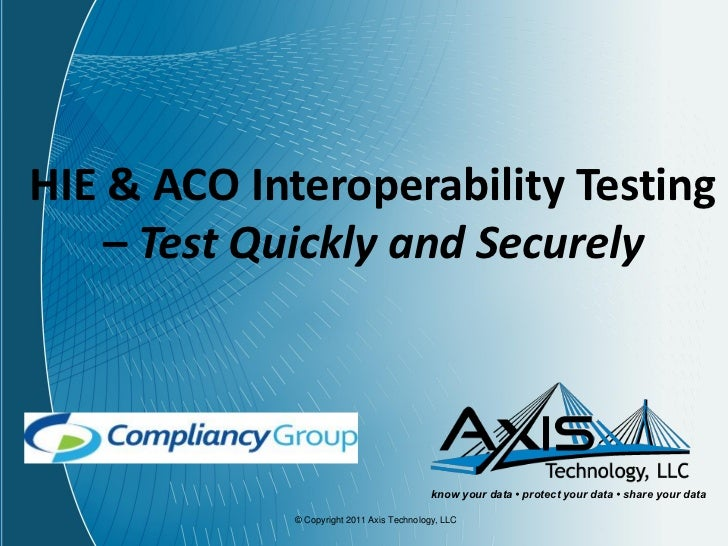 HIE & ACO Interoperability Testing    – Test Quickly and Securely                                            know your dat...