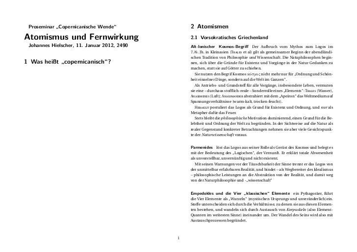 """Proseminar """"Copernicanische Wende""""              2 AtomismenAtomismus und Fernwirkung                        2.1 Vorsokrati..."""