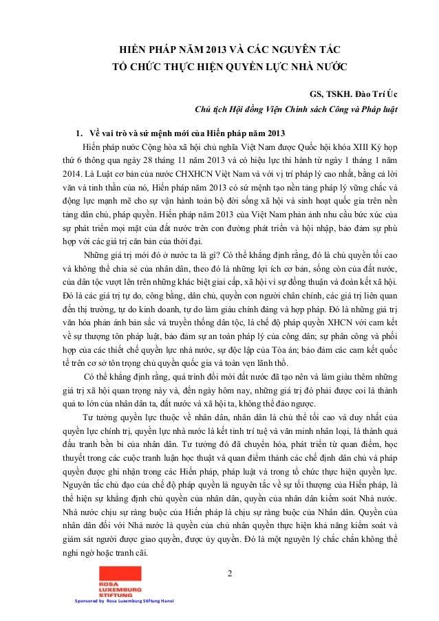 2 Sponsored by Rosa Luxemburg Stiftung Hanoi HIẾN PHÁP NĂM 2013 VÀ CÁC NGUYÊN TẮC TỔ CHỨC THỰC HIỆN QUYỀN LỰC NHÀ NƯỚC GS,...
