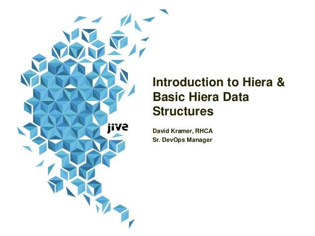 Introduction to Hiera & Basic Hiera Data Structures David Kramer, RHCA Sr. DevOps Manager