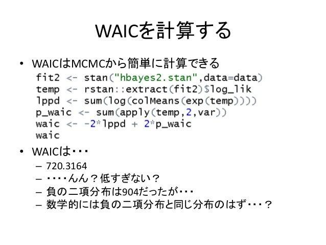 WAICを計算する • WAICはMCMCから簡単に計算できる • WAICは・・・ – 720.3164 – ・・・・んん?低すぎない? – 負の二項分布は904だったが・・・ – 数学的には負の二項分布と同じ分布のはず・・・?