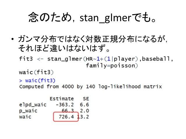 念のため,stan_glmerでも。 • ガンマ分布ではなく対数正規分布になるが, それほど違いはないはず。