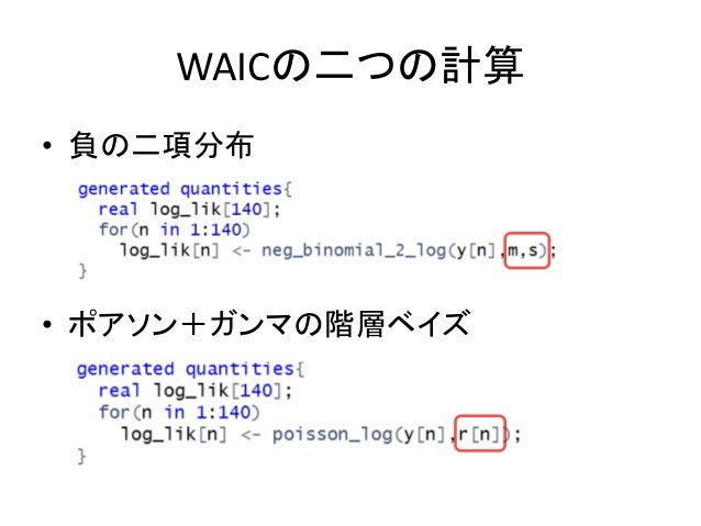 WAICの二つの計算 • 負の二項分布 • ポアソン+ガンマの階層ベイズ
