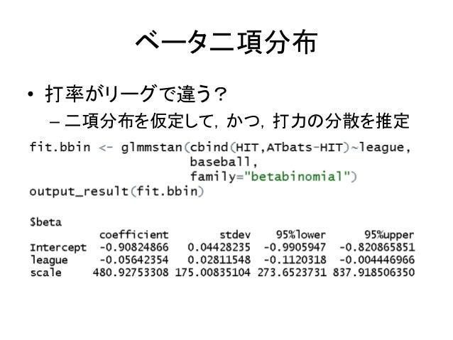 ベータ二項分布 • 打率がリーグで違う? – 二項分布を仮定して,かつ,打力の分散を推定
